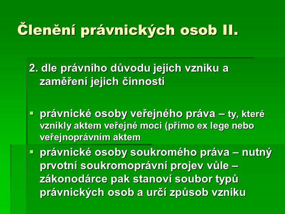 Členění právnických osob III.3.
