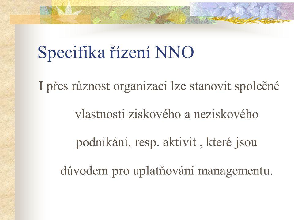 Specifika řízení NNO I přes různost organizací lze stanovit společné vlastnosti ziskového a neziskového podnikání, resp. aktivit, které jsou důvodem p