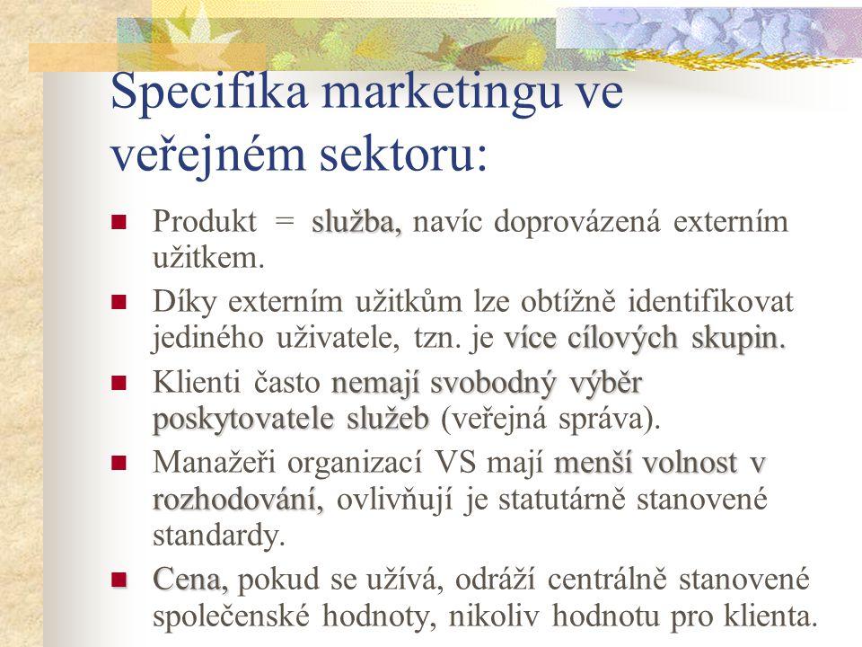 Specifika marketingu ve veřejném sektoru: služba, Produkt = služba, navíc doprovázená externím užitkem. více cílových skupin. Díky externím užitkům lz