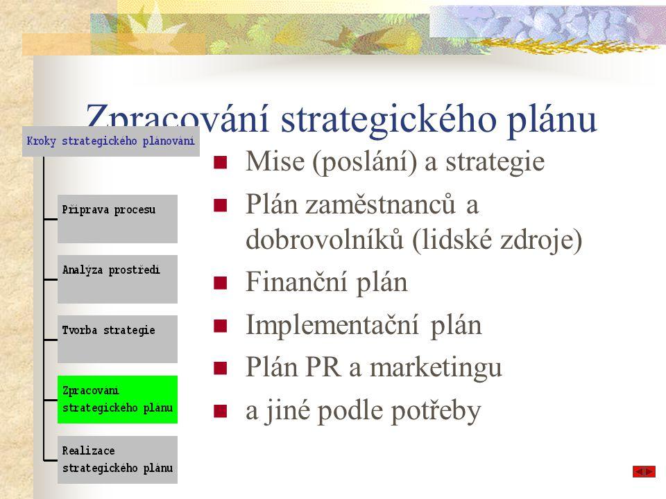 Zpracování strategického plánu Mise (poslání) a strategie Plán zaměstnanců a dobrovolníků (lidské zdroje) Finanční plán Implementační plán Plán PR a m