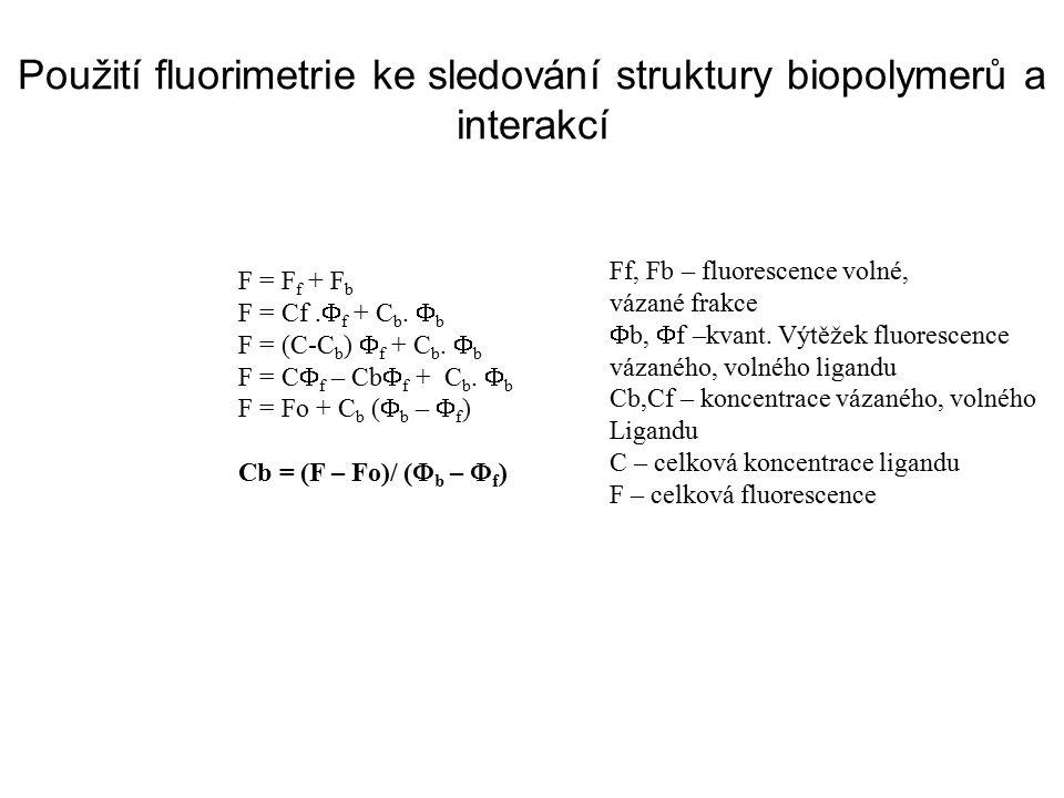 Použití fluorimetrie ke sledování struktury biopolymerů a interakcí F = F f + F b F = Cf.  f + C b.  b F = (C-C b )  f + C b.  b F = C  f – Cb 