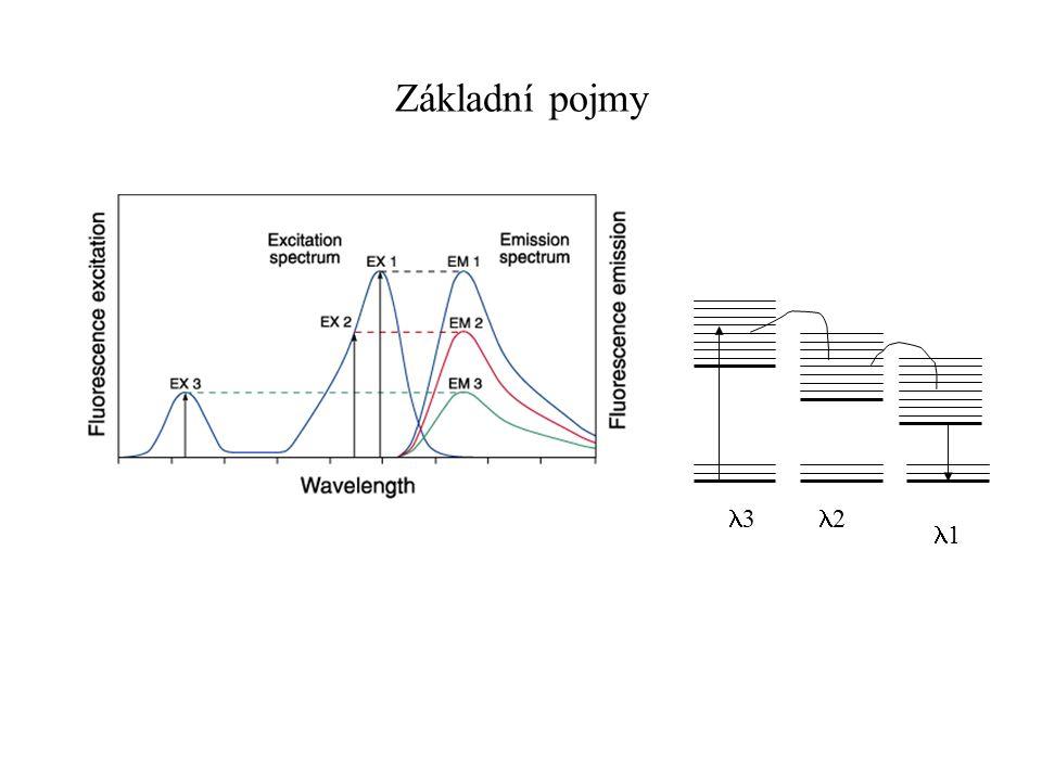 Kvantitativní fluorimetrie Detekce nukleových kyselin Ethidium bromid – ds DNA SYBR Green – (ss DNA), RNA rRNA 16 a 23s barvená SYBR Green II Molecular Probes