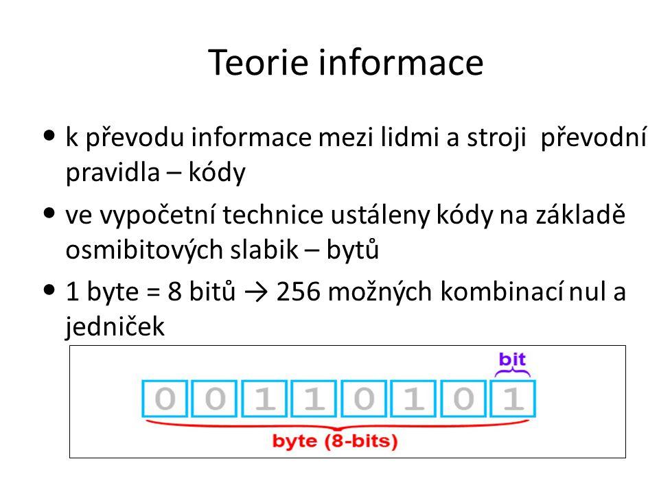 Teorie informace k převodu informace mezi lidmi a stroji převodní pravidla – kódy ve vypočetní technice ustáleny kódy na základě osmibitových slabik – bytů 1 byte = 8 bitů → 256 možných kombinací nul a jedniček