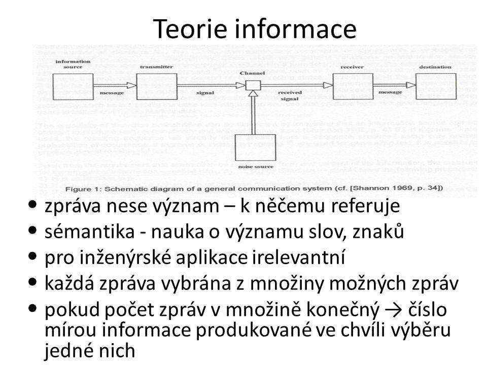 Teorie informace zpráva nese význam – k něčemu referuje sémantika - nauka o významu slov, znaků pro inženýrské aplikace irelevantní každá zpráva vybrána z množiny možných zpráv pokud počet zpráv v množině konečný → číslo mírou informace produkované ve chvíli výběru jedné nich