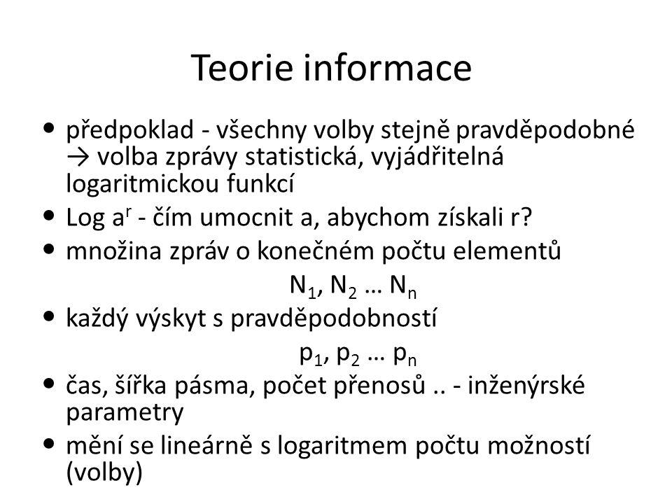 Teorie informace informační zdroj produkuje zprávy nedeterministicky → stochastický (pravděpodobnostní) proces pravděpodobnost mnohdy závisí na předchozím stavu např.
