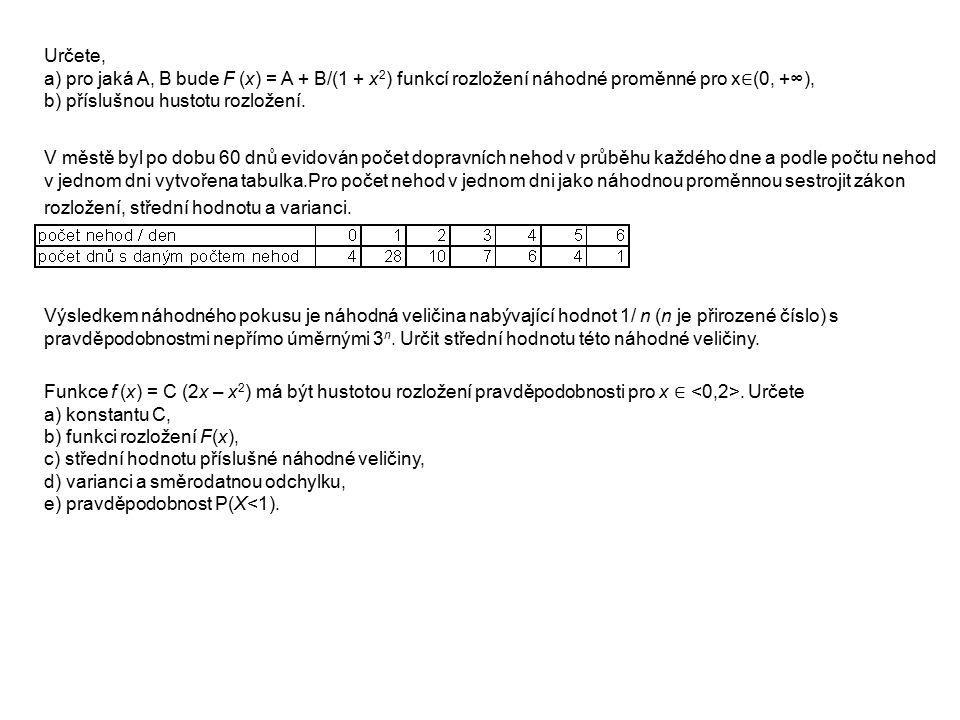 Určete, a) pro jaká A, B bude F (x) = A + B/(1 + x 2 ) funkcí rozložení náhodné proměnné pro x ∈ (0, +∞), b) příslušnou hustotu rozložení. V městě byl