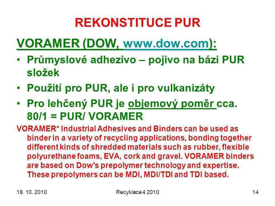 REKONSTITUCE PUR Recyklace 4 20101418. 10. 2010 VORAMER (DOW, www.dow.com):www.dow.com Průmyslové adhezivo – pojivo na bázi PUR složek Použití pro PUR