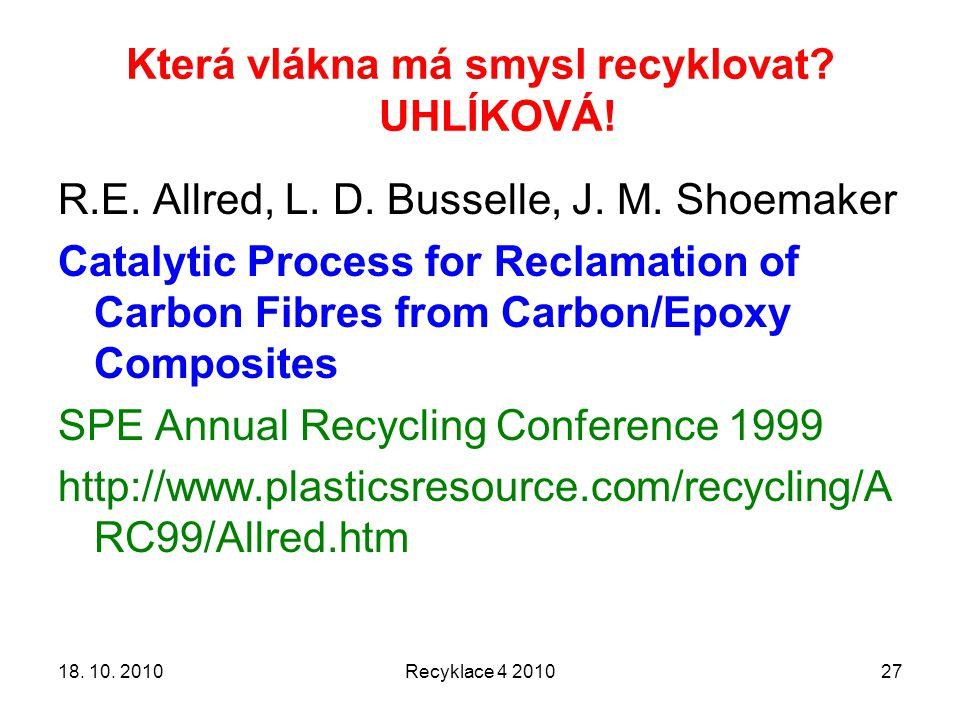 Která vlákna má smysl recyklovat? UHLÍKOVÁ! 18. 10. 2010Recyklace 4 201027 R.E. Allred, L. D. Busselle, J. M. Shoemaker Catalytic Process for Reclamat