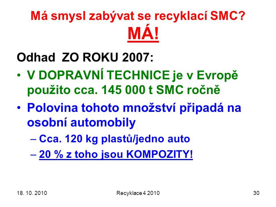 Má smysl zabývat se recyklací SMC? MÁ! 18. 10. 2010Recyklace 4 201030 Odhad ZO ROKU 2007: V DOPRAVNÍ TECHNICE je v Evropě použito cca. 145 000 t SMC r