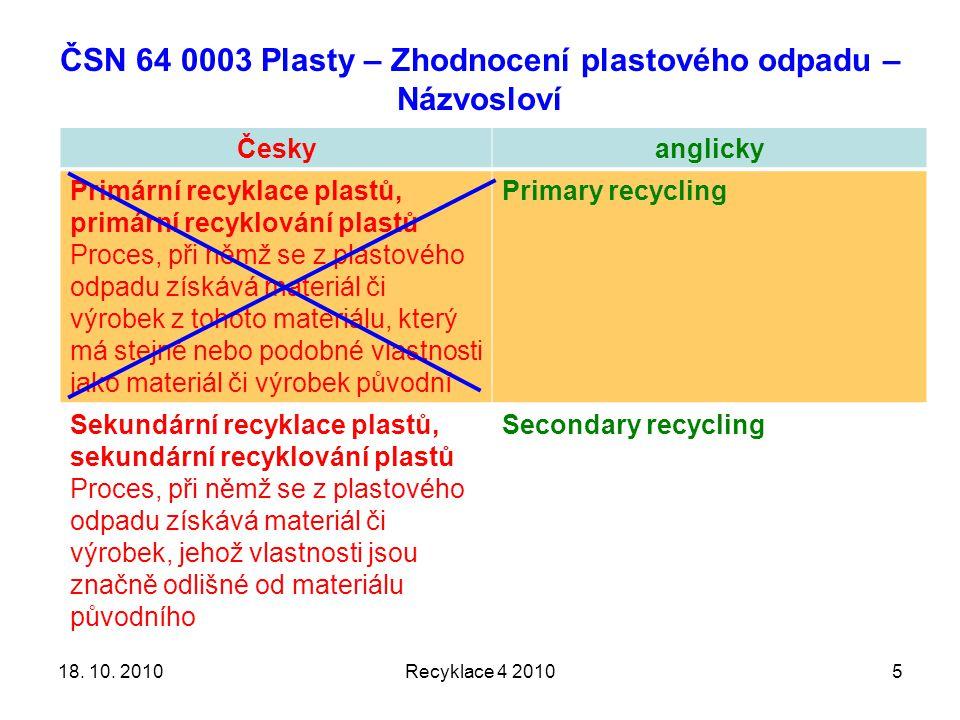 ČSN 64 0003 Plasty – Zhodnocení plastového odpadu – Názvosloví Českyanglicky Primární recyklace plastů, primární recyklování plastů Proces, při němž se z plastového odpadu získává materiál či výrobek z tohoto materiálu, který má stejné nebo podobné vlastnosti jako materiál či výrobek původní Primary recycling Sekundární recyklace plastů, sekundární recyklování plastů Proces, při němž se z plastového odpadu získává materiál či výrobek, jehož vlastnosti jsou značně odlišné od materiálu původního Secondary recycling Recyklace 4 2010518.