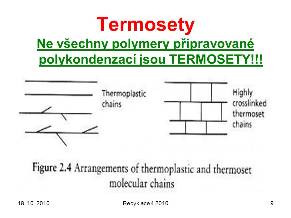 Termosety Recyklace 4 2010918. 10. 2010 Ne všechny polymery připravované polykondenzací jsou TERMOSETY!!!