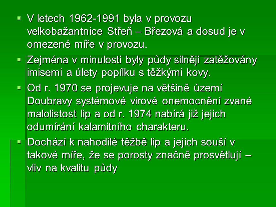  V letech 1962-1991 byla v provozu velkobažantnice Střeň – Březová a dosud je v omezené míře v provozu.  Zejména v minulosti byly půdy silněji zatěž