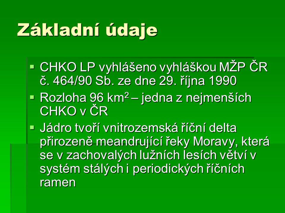 Základní údaje  CHKO LP vyhlášeno vyhláškou MŽP ČR č. 464/90 Sb. ze dne 29. října 1990  Rozloha 96 km 2 – jedna z nejmenších CHKO v ČR  Jádro tvoří