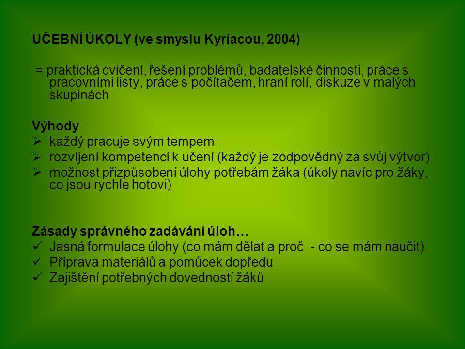 UČEBNÍ ÚKOLY (ve smyslu Kyriacou, 2004) = praktická cvičení, řešení problémů, badatelské činnosti, práce s pracovními listy, práce s počítačem, hraní