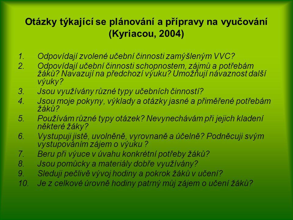 Otázky týkající se plánování a přípravy na vyučování (Kyriacou, 2004) 1.Odpovídají zvolené učební činnosti zamýšleným VVC? 2.Odpovídají učební činnost