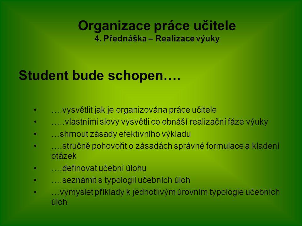 Student bude schopen…. ….vysvětlit jak je organizována práce učitele …..vlastními slovy vysvětli co obnáší realizační fáze výuky …shrnout zásady efekt