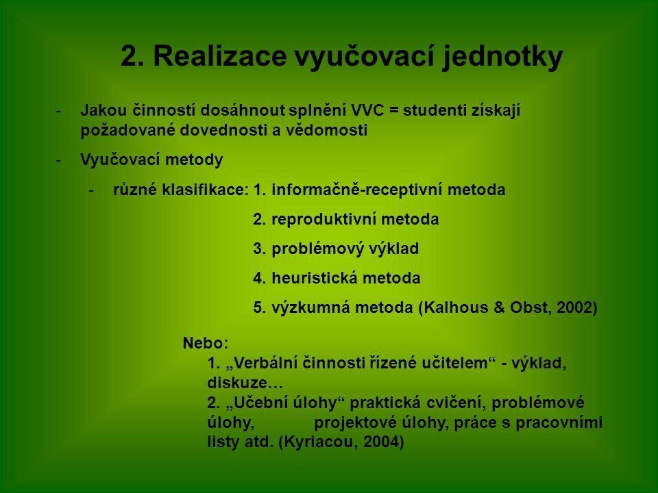 2. Realizace vyučovací jednotky -Jakou činností dosáhnout splnění VVC = studenti získají požadované dovednosti a vědomosti -Vyučovací metody -různé kl