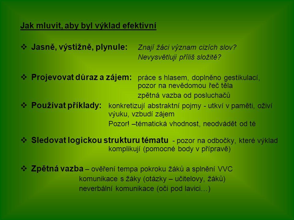 """""""Procvičujte svůj výklad a vystupování Zdroj: Kyriacou 2004"""