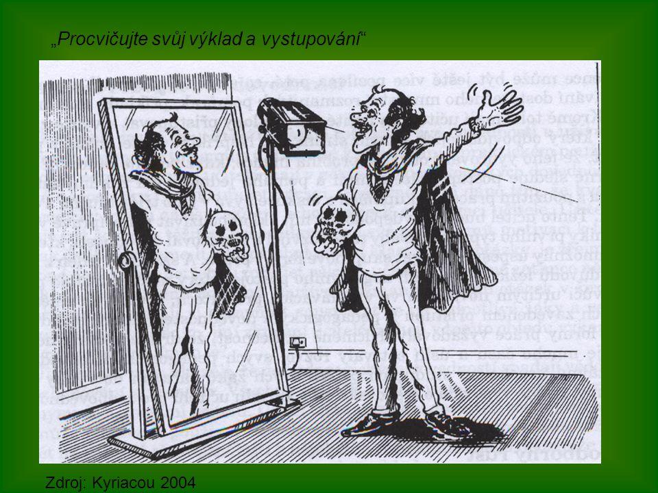 """""""Procvičujte svůj výklad a vystupování"""" Zdroj: Kyriacou 2004"""