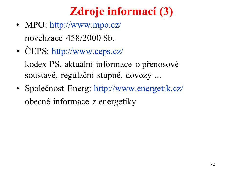 32 Zdroje informací (3) MPO: http://www.mpo.cz/ novelizace 458/2000 Sb.