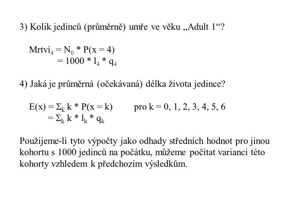 """3) Kolik jedinců (průměrně) umře ve věku """"Adult 1""""? Mrtví 4 = N 0 * P(x = 4) = 1000 * l 4 * q 4 4) Jaká je průměrná (očekávaná) délka života jedince?"""