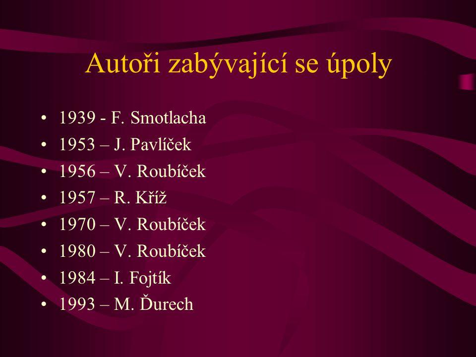 Autoři zabývající se úpoly 1939 - F. Smotlacha 1953 – J. Pavlíček 1956 – V. Roubíček 1957 – R. Kříž 1970 – V. Roubíček 1980 – V. Roubíček 1984 – I. Fo