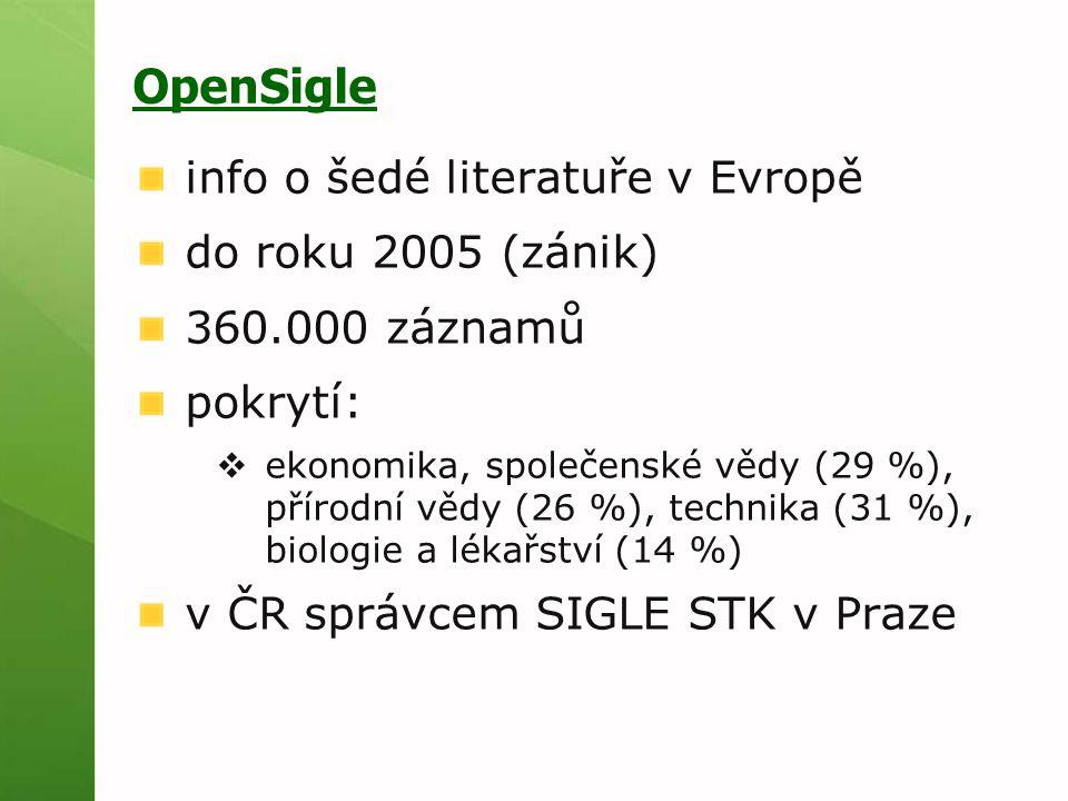 OpenSigle info o šedé literatuře v Evropě do roku 2005 (zánik) 360.000 záznamů pokrytí:  ekonomika, společenské vědy (29 %), přírodní vědy (26 %), te