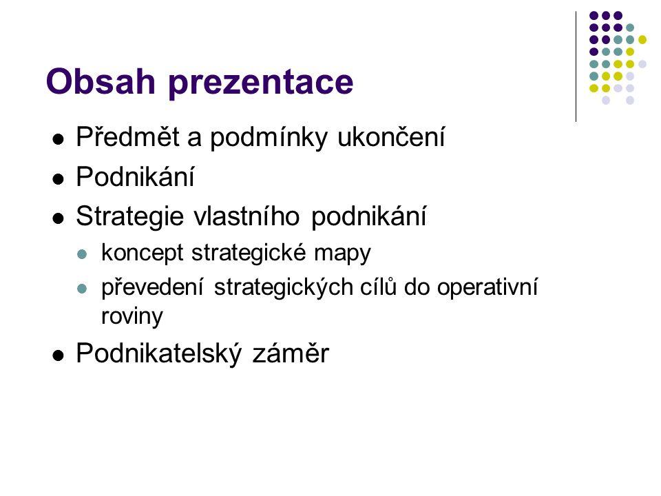 Obsah prezentace Předmět a podmínky ukončení Podnikání Strategie vlastního podnikání koncept strategické mapy převedení strategických cílů do operativní roviny Podnikatelský záměr