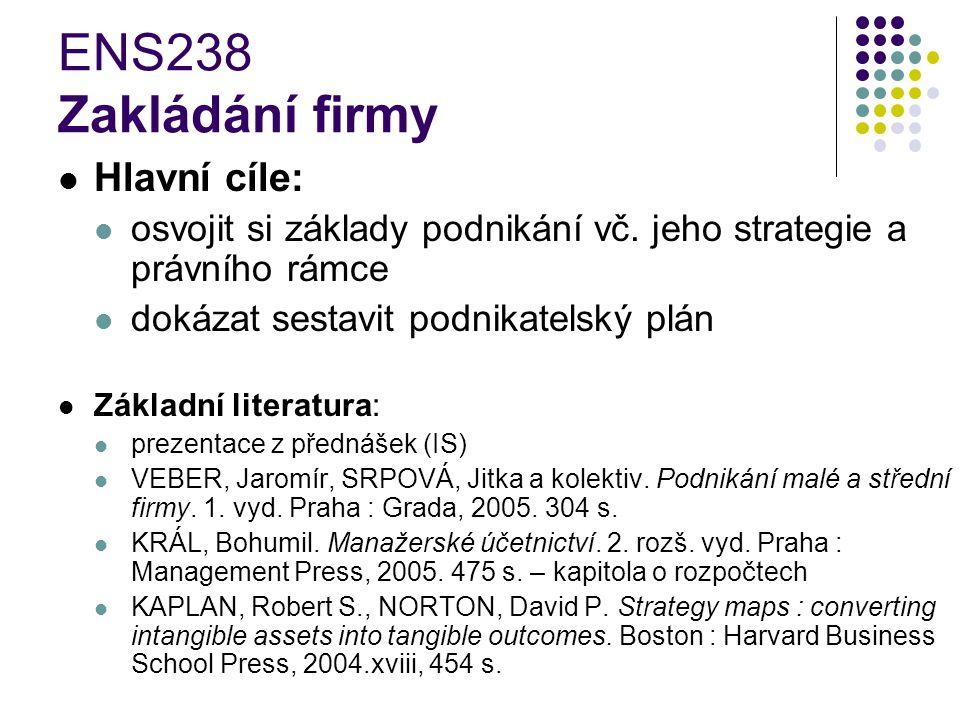 ENS238 Zakládání firmy Hlavní cíle: osvojit si základy podnikání vč.