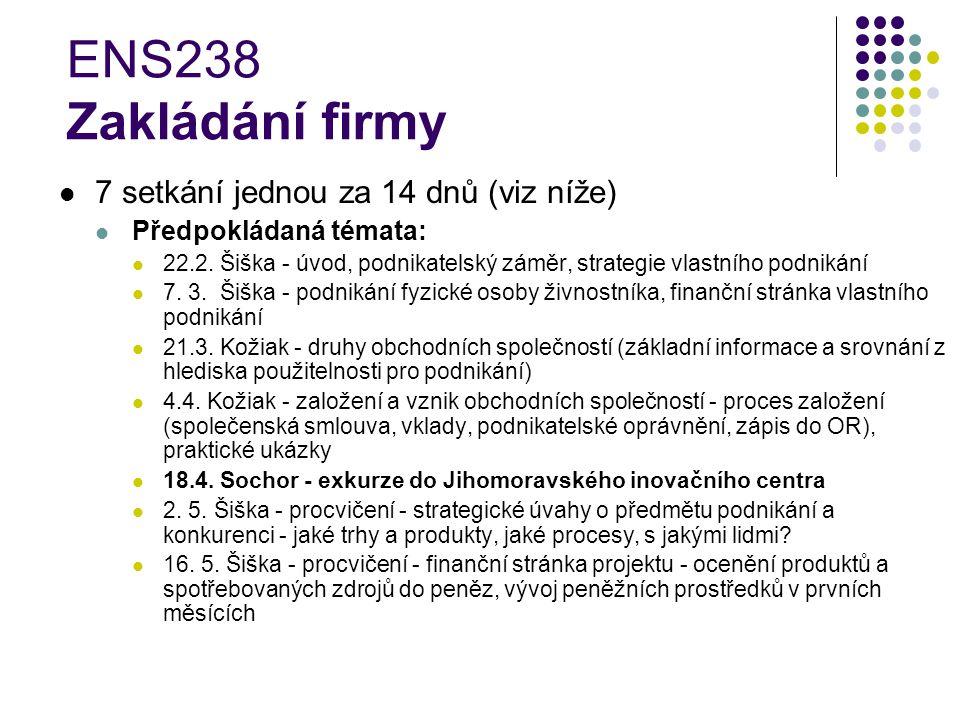 ENS238 Zakládání firmy 7 setkání jednou za 14 dnů (viz níže) Předpokládaná témata: 22.2.