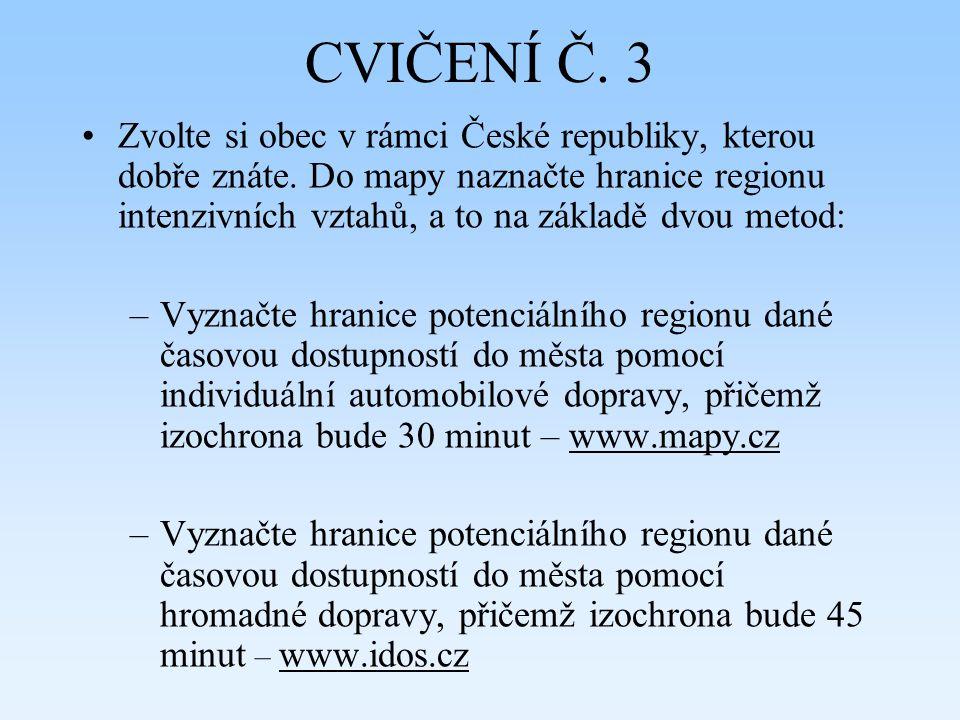 CVIČENÍ Č. 3 Zvolte si obec v rámci České republiky, kterou dobře znáte. Do mapy naznačte hranice regionu intenzivních vztahů, a to na základě dvou me