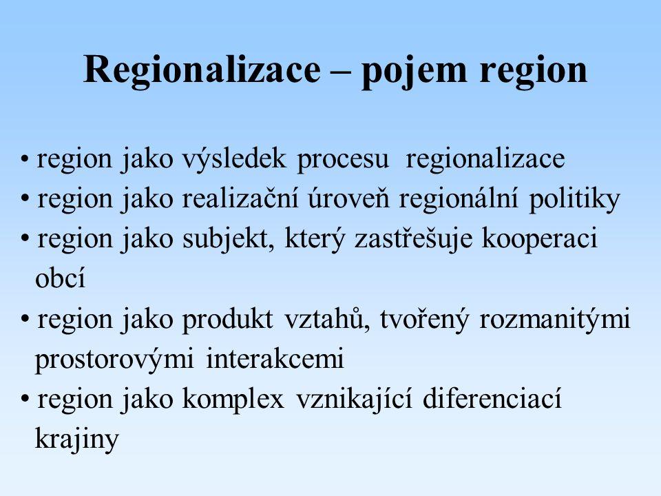 Regionalizace – pojem region region jako výsledek procesu regionalizace region jako realizační úroveň regionální politiky region jako subjekt, který z