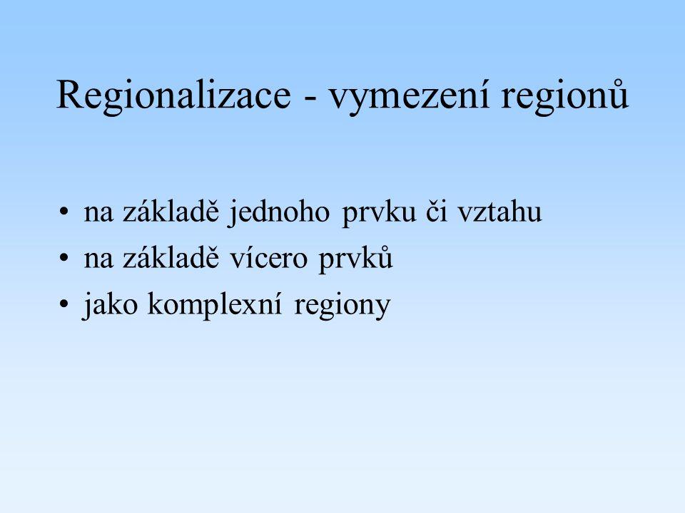 Regionalizace - vymezení regionů na základě jednoho prvku či vztahu na základě vícero prvků jako komplexní regiony