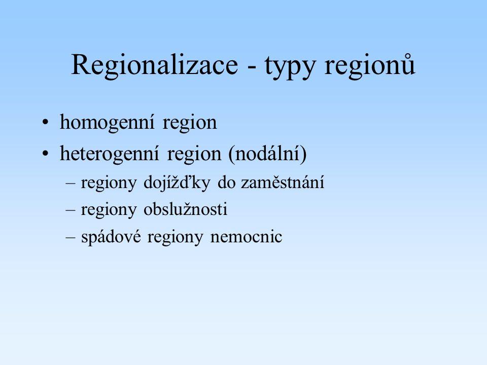 Regionalizace - typy regionů homogenní region heterogenní region (nodální) –regiony dojížďky do zaměstnání –regiony obslužnosti –spádové regiony nemoc