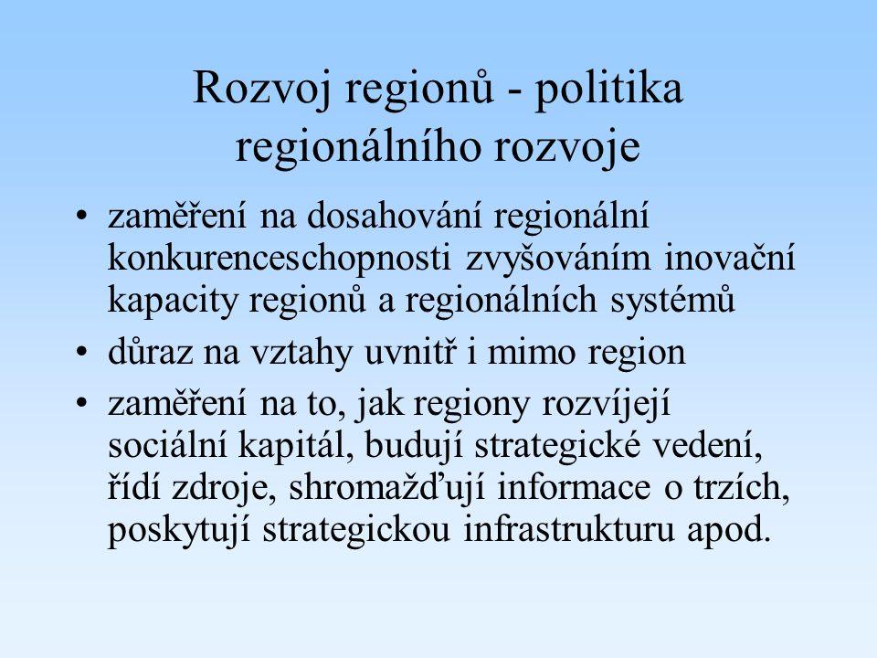 Rozvoj regionů - politika regionálního rozvoje zaměření na dosahování regionální konkurenceschopnosti zvyšováním inovační kapacity regionů a regionáln