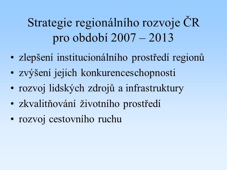 Strategie regionálního rozvoje ČR pro období 2007 – 2013 zlepšení institucionálního prostředí regionů zvýšení jejich konkurenceschopnosti rozvoj lidsk