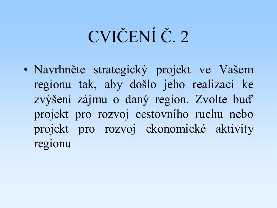 CVIČENÍ Č. 2 Navrhněte strategický projekt ve Vašem regionu tak, aby došlo jeho realizací ke zvýšení zájmu o daný region. Zvolte buď projekt pro rozvo