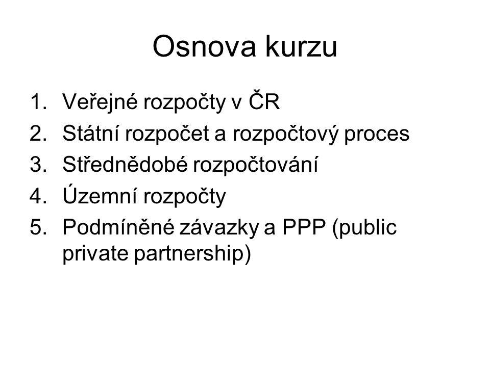 Osnova kurzu 1.Veřejné rozpočty v ČR 2.Státní rozpočet a rozpočtový proces 3.Střednědobé rozpočtování 4.Územní rozpočty 5.Podmíněné závazky a PPP (public private partnership)
