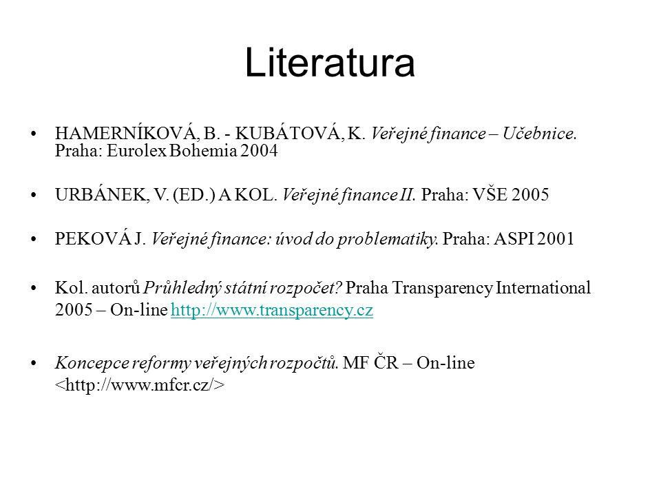 Literatura HAMERNÍKOVÁ, B. - KUBÁTOVÁ, K. Veřejné finance – Učebnice.