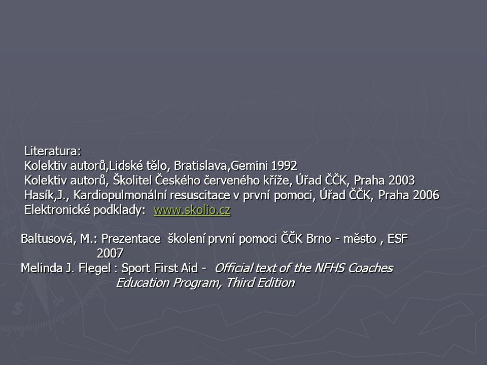 Literatura: Literatura: Kolektiv autorů,Lidské tělo, Bratislava,Gemini 1992 Kolektiv autorů,Lidské tělo, Bratislava,Gemini 1992 Kolektiv autorů, Školi