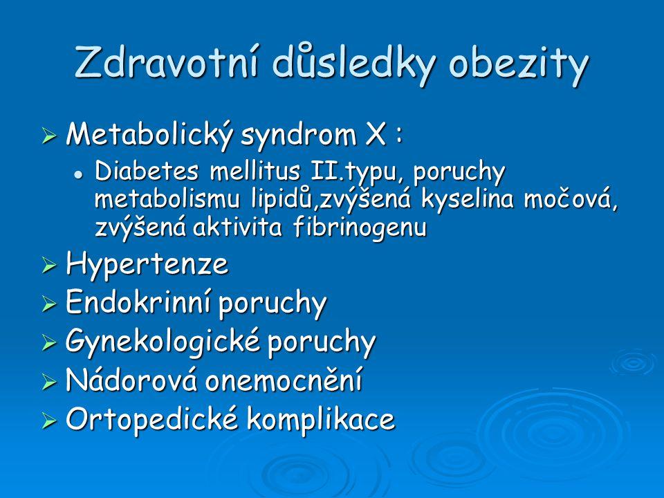 Zdravotní důsledky obezity  Metabolický syndrom X : Diabetes mellitus II.typu, poruchy metabolismu lipidů,zvýšená kyselina močová, zvýšená aktivita f