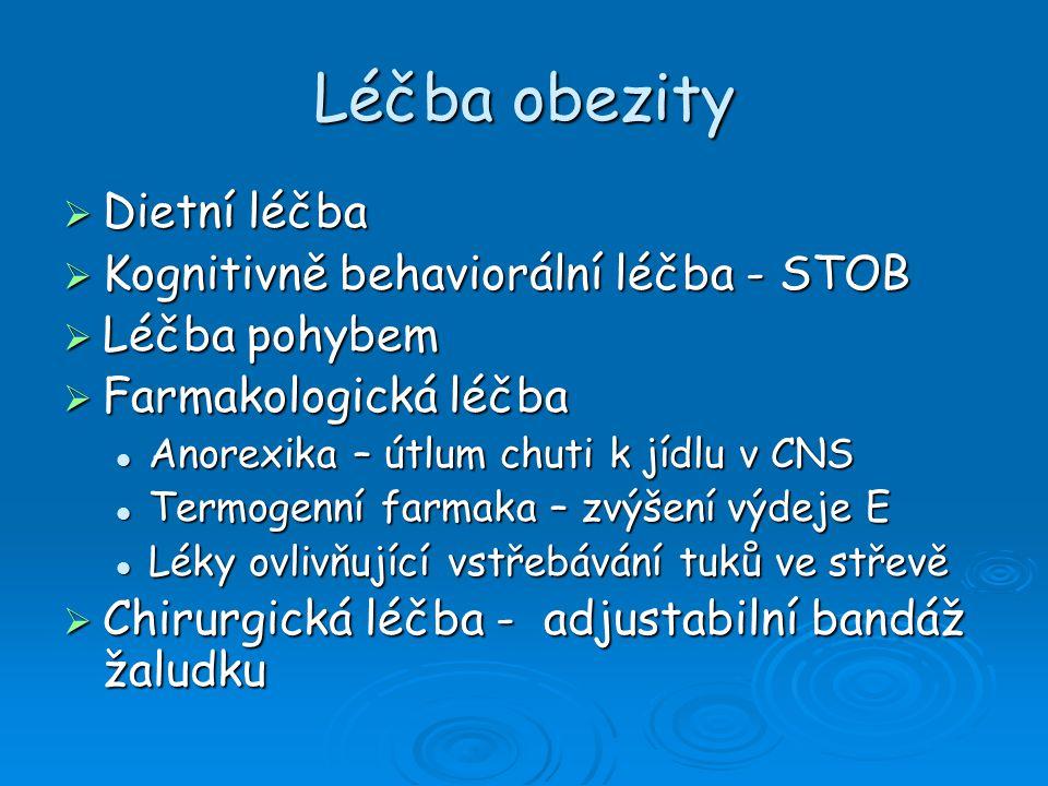 Léčba obezity  Dietní léčba  Kognitivně behaviorální léčba - STOB  Léčba pohybem  Farmakologická léčba Anorexika – útlum chuti k jídlu v CNS Anore