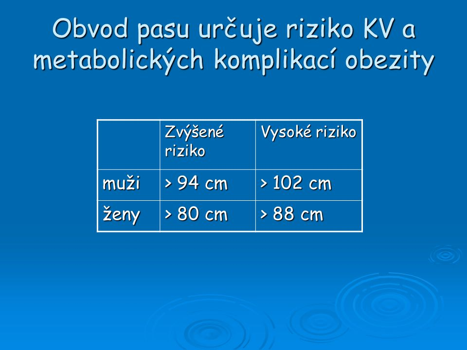 Obvod pasu určuje riziko KV a metabolických komplikací obezity Zvýšené riziko Vysoké riziko muži > 94 cm > 102 cm ženy > 80 cm > 88 cm