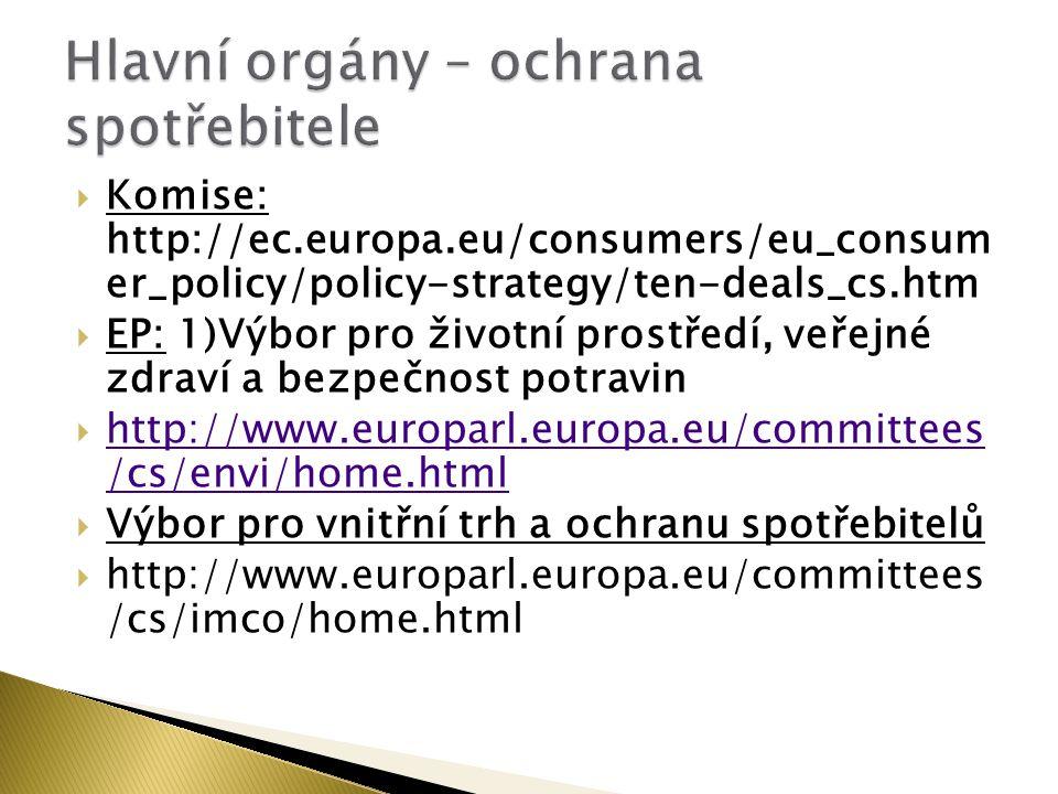  Komise: http://ec.europa.eu/consumers/eu_consum er_policy/policy-strategy/ten-deals_cs.htm  EP: 1)Výbor pro životní prostředí, veřejné zdraví a bezpečnost potravin  http://www.europarl.europa.eu/committees /cs/envi/home.html http://www.europarl.europa.eu/committees /cs/envi/home.html  Výbor pro vnitřní trh a ochranu spotřebitelů  http://www.europarl.europa.eu/committees /cs/imco/home.html