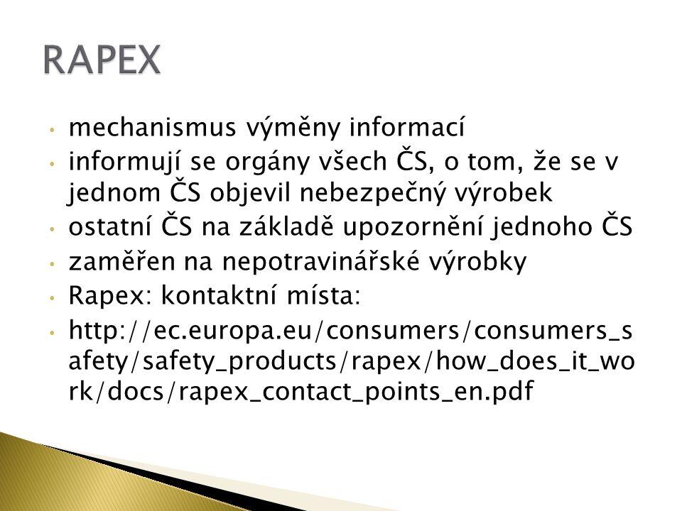 mechanismus výměny informací informují se orgány všech ČS, o tom, že se v jednom ČS objevil nebezpečný výrobek ostatní ČS na základě upozornění jednoho ČS zaměřen na nepotravinářské výrobky Rapex: kontaktní místa: http://ec.europa.eu/consumers/consumers_s afety/safety_products/rapex/how_does_it_wo rk/docs/rapex_contact_points_en.pdf