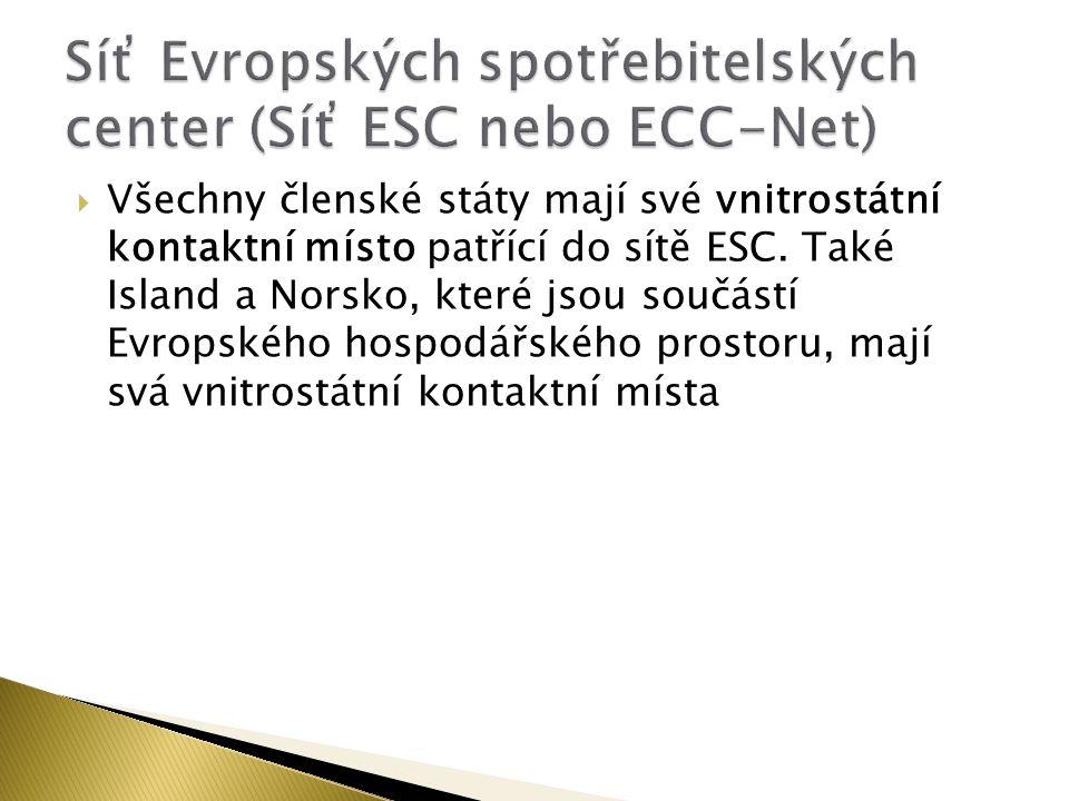  Všechny členské státy mají své vnitrostátní kontaktní místo patřící do sítě ESC.