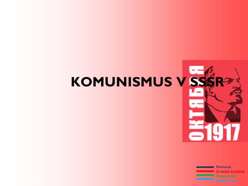 Povinné Zvláště důležité Nepovinné Zajímavost 9/18/14 KOMUNISMUS V SSSR