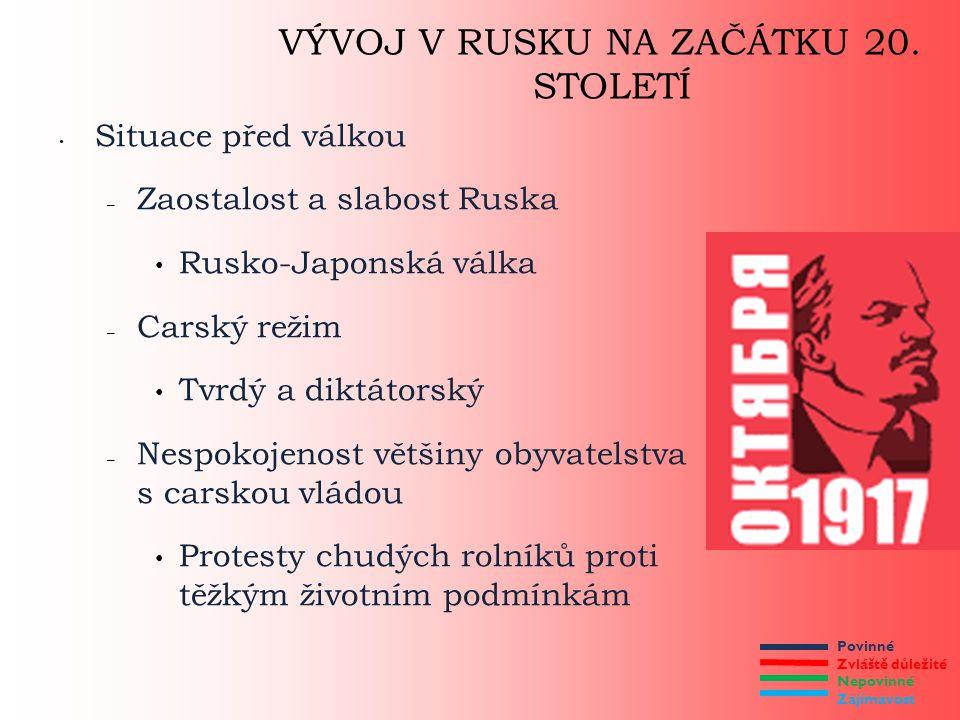 Povinné Zvláště důležité Nepovinné Zajímavost VÝVOJ V RUSKU NA ZAČÁTKU 20. STOLETÍ Situace před válkou – Zaostalost a slabost Ruska Rusko-Japonská vál