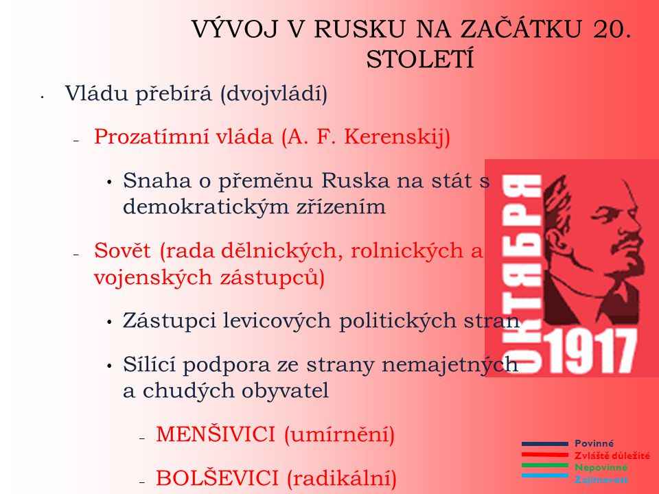 Povinné Zvláště důležité Nepovinné Zajímavost VÝVOJ V RUSKU NA ZAČÁTKU 20. STOLETÍ Vládu přebírá (dvojvládí) – Prozatímní vláda (A. F. Kerenskij) Snah