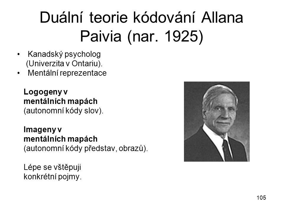 105 Duální teorie kódování Allana Paivia (nar.1925) Kanadský psycholog (Univerzita v Ontariu).